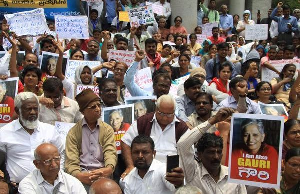 gauri death: protest against government